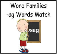AG Words Match File Folder Game