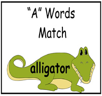 """A"" Words Match File Folder Game"