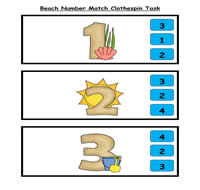 Beachy Number Match Clothespin Task