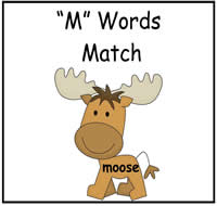 M Words Match File Folder Game