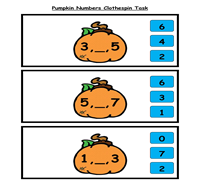 Pumpkin Numbers Clothespin Task