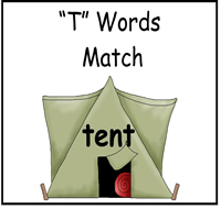 """T"" Words Match File Folder Game"
