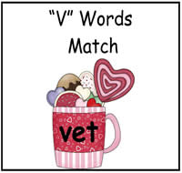 """V"" Words Match File Folder Game"