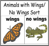 Animals With Wings/Without Wings File Folder Game