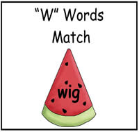 """W"" Words Match File Folder Game"